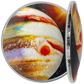 JUPITER Solar System 1 oz Silver Proof Dome shaped Color Coin 2021