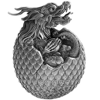 CHINESE DRAGON EGG 2 oz Silver High Relief Coin Chad 2021