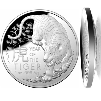 Year of the TIGER 1 oz Silver Proof Dome shaped Coin $5 Australia 2022