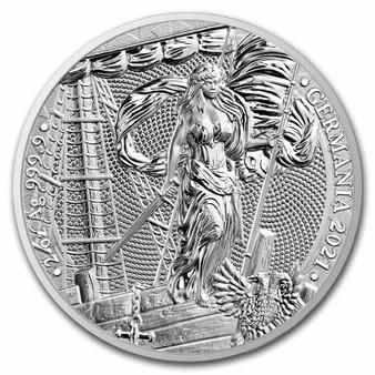 LADY GERMANIA  2 oz Pure Silver Coin 10 Mark  2021