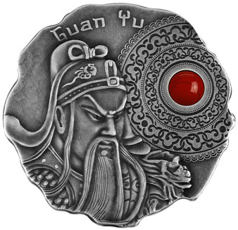 GUAN YU Silver Coin with Coral Jasper 500 Francs Cameroon 2021