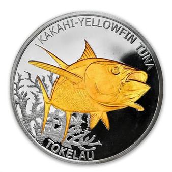 2014 Tokelau Yellowfin Tuna 1 oz Silver $5 Coin gilded
