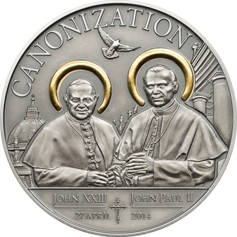 Tanzania 2014 Canonization of John Paul II 1000 Sh. Silver AF Coin Gilded