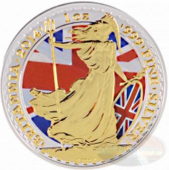 2014 UK 1 Oz .999 Silver Britannia Coin £2 Coin Gilded/Color
