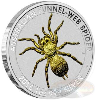 2015 1 oz. Aus Funnel-web Spider .999 Silver Gilded
