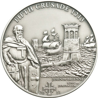 CRUSADE 5 John of Brienne Silver Coin 5$ Cook Islands 2011