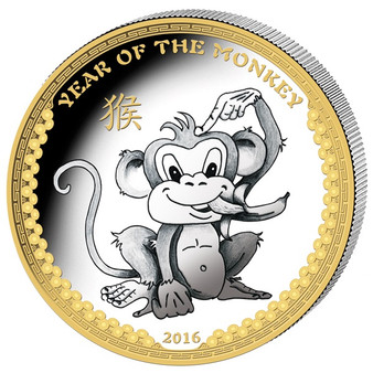 2016 Palau 1 Oz .999 Silver Year of the Monkey $5 Gilded HR Coin