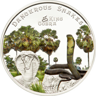 KING COBRA 5$ Cook Island Silver Coin 2011