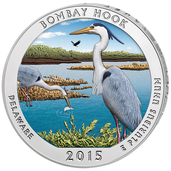BOMBAY HOOK - Delaware - America the Beautiful - 2015 5 oz Color Silver Coin