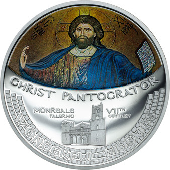 Christ Pantocrator Mosaic  CONVEX Silver Proof coin Cook Islands 2016