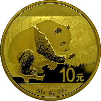 10 Y Panda Silver 24 K Gold full Gilded China 2016