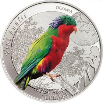 Rimatara Rainbow Lorikeet $2 Cook Island 2016 Silver Proof Coin