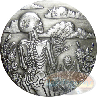 Zodiac Virgo MEMENTO MORI Rimless High Relief Antique Silver 1oz
