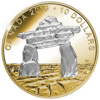 2016 Iconic Canada: INUKSHUK – Reverse Gold-Plated 1 oz .9999 Silver $5