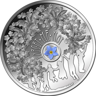 Forget-me-Not flower with lacquer coating -  Silver Coin  $1 Niue 2014