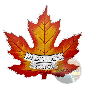 The Canadian Maple Leaf Shape Color -2016 $20 1 oz Fine Silver Coin