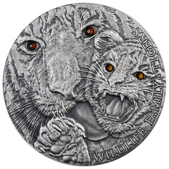 TIGERS Wildlife Family Panthera Tigris Silver Coin 1$ 1 Oz Niue 2013
