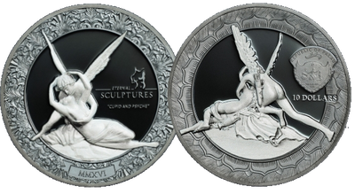 CUPID AND PSYCHE - 2016 2 oz Pure Silver Coin - Two-Sides Smart-minting© Technology & Marble Effect