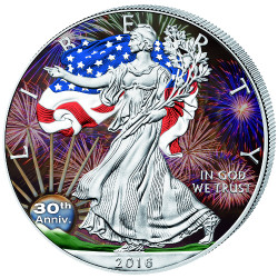 30th. Anniversary Color LIBERTY - 2016 1 oz Silver Eagle Coin
