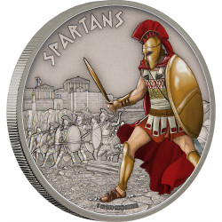 WARRIORS OF HISTORY - SPARTANS - 2016 1 oz Silver Coin - Niue