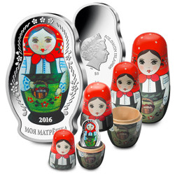 MATRYOSHKA DOLL - 2016 1 oz Pure Silver Coin - Solomon Islands
