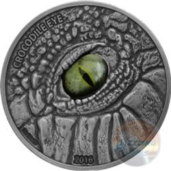CROCODILE EYE Real Effect 1 Oz Silver Coin 1000 Fr Burkina Faso