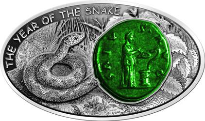 Salus Snake 2013 Fiji $10 1oz silver coin antique Finish