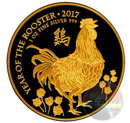 Rooster - Gold Black Empire 1 OZ silver Lunar UK 2017