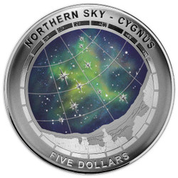 CYGNUS - Northern Sky Curved Domed Silver Coin $5 AUS 2016