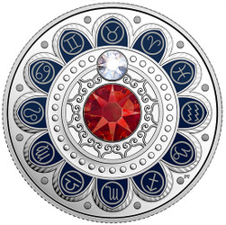 Zodiac $3 Silver Proof two Swarovski Crystals 2017 Canada