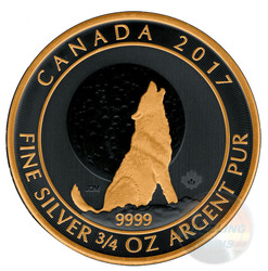 WOLF Moon 3/4 oz Gold Black Empire coin $2 2017 Canada