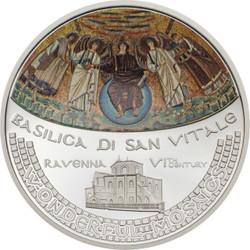 BASILICA SAN VITALE Mosaic Convex 1 Oz Silver Coin 5$ Cook Islands 2017 R