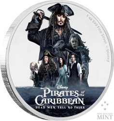 CAPTAIN JACK SPARROW - Dead men tell no tales 2017 1 oz Silver Coin