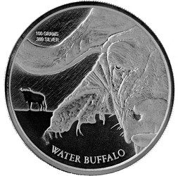WATER BUFFALO 100 g ( 3.215 oz).999 Silver Coin BU  Congo 2017