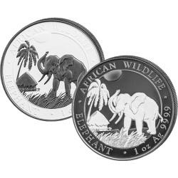 Elephant BLACK & WHITE 2 COIN SET - 1 oz Silver Ruthenium 2017 Somalia