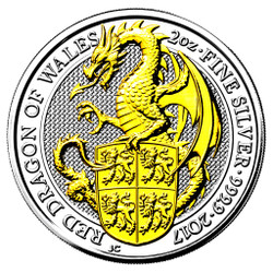RED DRAGON of WALES 2 oz Silver Gilded Coin Ultra High Relief 2017 UK