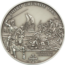 3rd.Crusade: Richard the Lionheart Silver Coin 5$ Cook Islands 2010