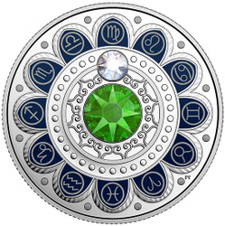 VIRGO Zodiac $3 Silver Proof two Swarovski Crystals 2017 Canada