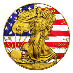 PATRIOTIC LIBERTY FLAG - 2016 1 oz American Silver Eagle Coin - Color and 24K Gold on Obverse and Reverse