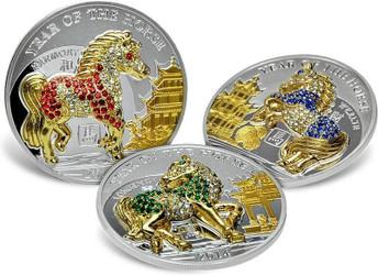 HORSE PAVE 3D Lunar Year 3 Silver Coin Set 500 Francs Rwanda 2014
