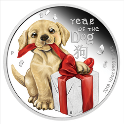 YEAR OF THE DOG BABY DOG - 1/2 oz Silver Proof Coin 2018