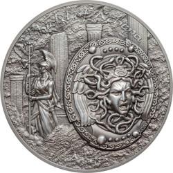 Shield of Athena -  AEGIS w/ MEDUSA  2 Oz Silver Coin  Cook Islands 2018