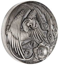 PHOENIX 2 OZ Pure Silver Antiqued Coin 2$ Tuvalu 2017