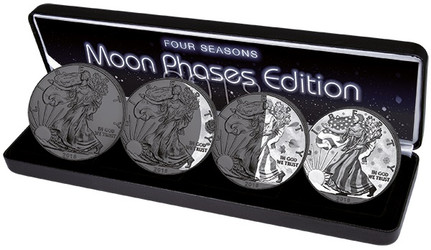 "SILVER EAGLE ""Moon Phases"" 4 Seasons SILVER COINS SET USA"
