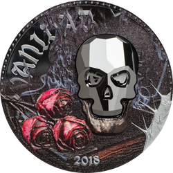Crystal Skull - Vanity 1000 CFA Francs 1 oz Swarovski & Silver Coin - Equatorial Guinea 2018