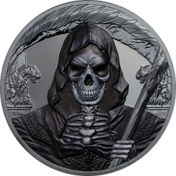 GRIM REAPER Dark Side 1 Oz Silver Coin 1000 Francs Equatorial Guinea 2018