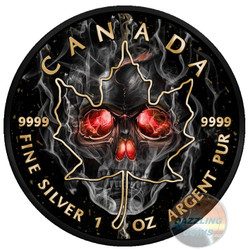 SMOKED SKULL MAPLE LEAF 1 OZ SILVER COIN 5$ CANADA 2018