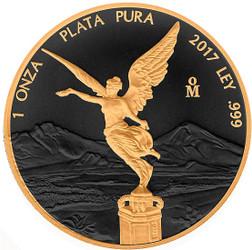 LIBERTAD - GOLD BLACK EMPIRE- 1 OZ SILVER COIN MEXICO 2017 1 oz Silver Coin