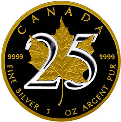 25th Anniversary Canadian Silver Maple - GOLD BLACK EMPIRE - 1 OZ SILVER COIN 2013