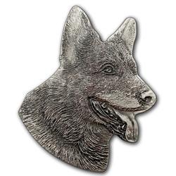 German Shepherd Unique shaped Silver Coin Niue 2017